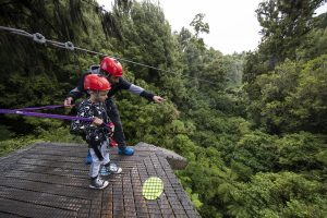 Father-and-son-looking-at-forest-from-tree-platform